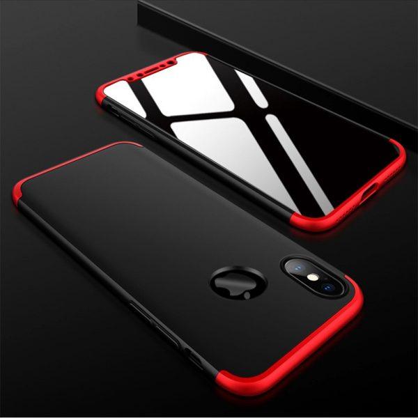 iphone X 360°pattintós (fekete-piros)