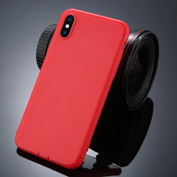 iPhone X vékony matt szilikon (piros)