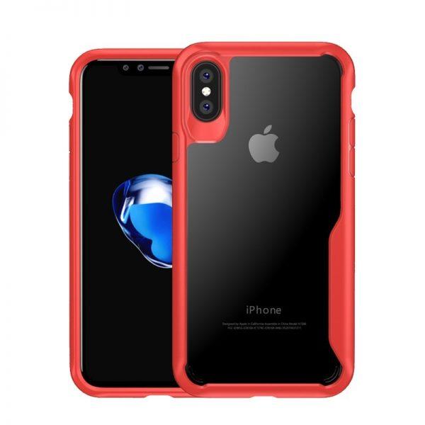 iphone X 2 az 1-ben armor szilikon tok átlátszó hátlappal (piros) 2