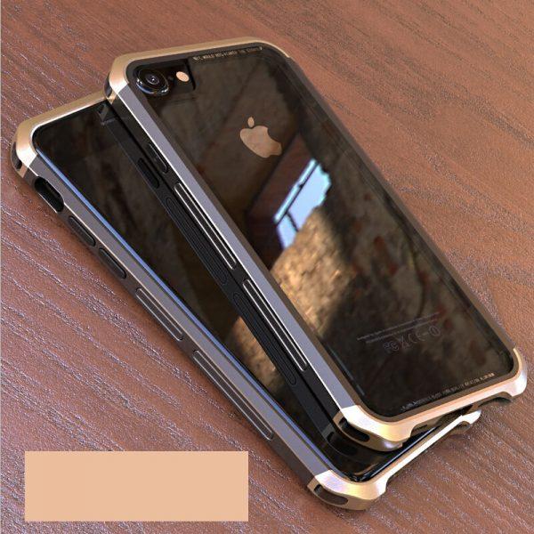 iPhone 8 Metal Bumber tok átlátszó hatlappal (fekete-arany)